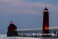 64795-03311 Grand Haven Lighthouse at sunset on Lake Michigan Grand Haven, MI