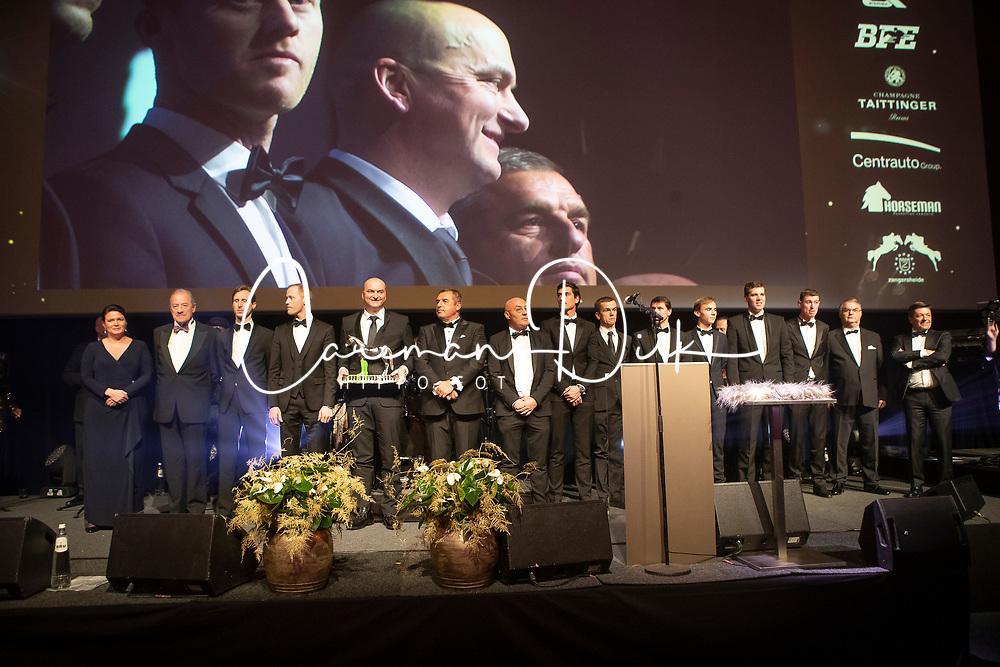 Award winners of the Year<br /> Bernard Fonck, Equistar of the Year,<br /> Simon Morsinkhof, Roockie of the Year,<br /> Jumpingg team Nations Cup Final Barcelona, Team of the Year, Peter Weinberg, Pieter Devos, Wil Vermeir, Nicola Philippaerts, Jos Verlooy, Niels Bruynseels, <br /> Edouard Simonet, Equille Trophée,<br /> Niels Bruynseels, Athlete of the Year,<br /> H&M Harley vd Bisschop, Horse of the Year, De Creane Tom, Ben Bevers<br /> François Mathy, Ophélie Fontana, Stefaan Lammens,<br /> Ludo Philippaerts, Wim Maenhout, Stephan Detry<br /> Equi Gala - Brussel 2019<br /> © Dirk Caremans<br /> 23/01/2019
