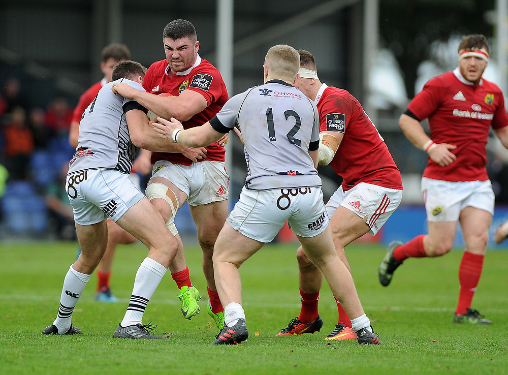Munster A's Sam Arnold in action during todays match<br /> <br /> Photographer Ashley Crowden/CameraSport<br /> <br /> The British & Irish Cup Pool 1 - Ospreys Premiership Select v Munster A - Saturday 14th October 2017 - St Helen's, Swansea<br /> <br /> World Copyright © 2017 CameraSport. All rights reserved. 43 Linden Ave. Countesthorpe. Leicester. England. LE8 5PG - Tel: +44 (0) 116 277 4147 - admin@camerasport.com - www.camerasport.com