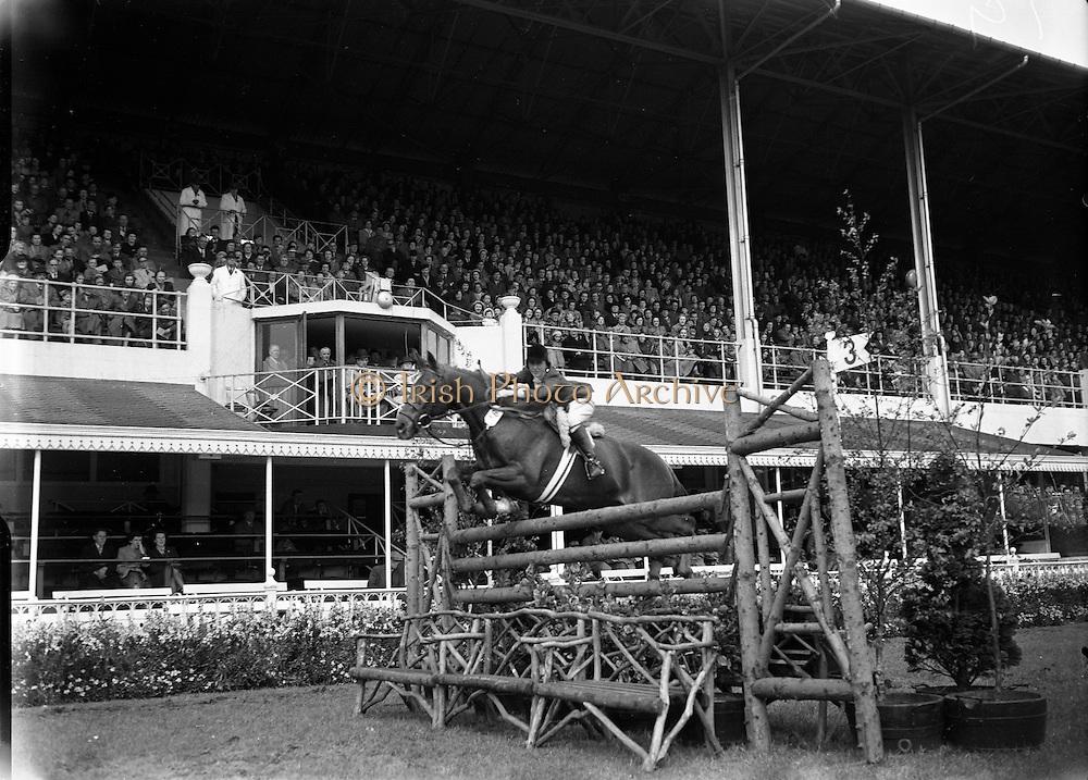 RDS Spring Show at Show Grounds, Ballsbridge, Dublin. Tostal Cp Competition - Horse Jumping..Iris Kellett Riding 'Rusty'.07/05/1954