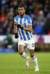 """Huddersfield Town's Steve Mounie during the Premier League match at the John Smith's Stadium, Huddersfield. PRESS ASSOCIATION Photo. Picture date: Tuesday January 29, 2019. See PA story SOCCER Huddersfield. Photo credit should read: Nigel French/PA Wire. RESTRICTIONS: EDITORIAL USE ONLY No use with unauthorised audio, video, data, fixture lists, club/league logos or """"live"""" services. Online in-match use limited to 120 images, no video emulation. No use in betting, games or single club/league/player publications"""