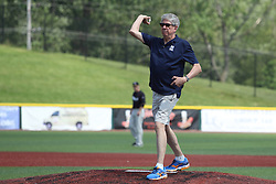 07 June 2015:   Town of Normal Mayor Chris Koos throws out an honorary first pitch during a Frontier League Baseball game between the Southern Illinois Miners and the Normal CornBelters at Corn Crib Stadium on the campus of Heartland Community College in Normal Illinois