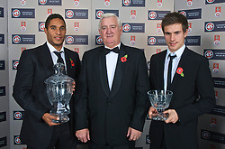 CARDIFF, WALES - Wednesday, November 11, 2009: Wales' Ashley Williams and Aaron Ramsey with the Welsh Player of the Year and Young Player of the Year awards presented by President Phil Pritchard during the Football Association of Wales Player of the Year Awards hosted by Brains SA at the Cardiff City Stadium. (Pic by David Rawcliffe/Propaganda)