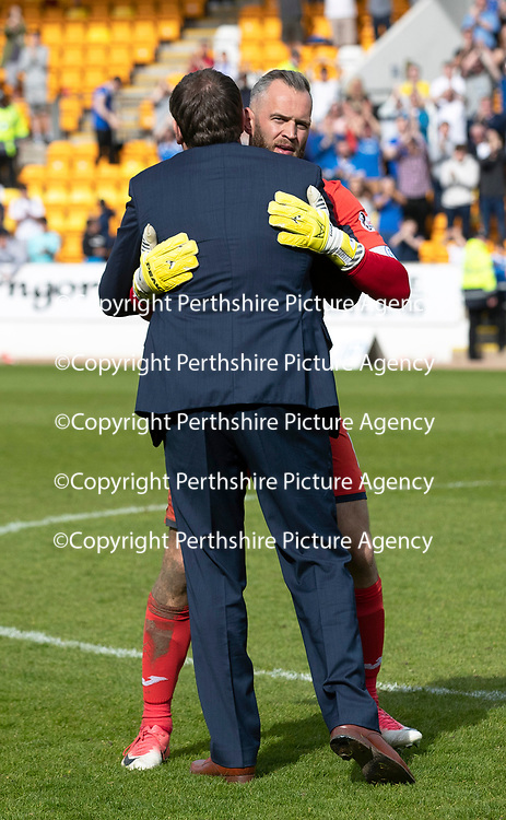 St Johnstone v Ross County…12.05.18…  McDiarmid Park    SPFL<br />Alan Mannus in his final game for saints gets a hug from Manager Tommy Wright<br />Picture by Graeme Hart. <br />Copyright Perthshire Picture Agency<br />Tel: 01738 623350  Mobile: 07990 594431