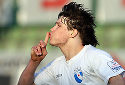 Etien Velikonja scored in last minute at 28th Round of Slovenian First League football match between NK Interblock and ND Hit Gorica ZAK Stadium, on April 11, 2009, in Ljubljana, Slovenia. (Photo by Vid Ponikvar / Sportida)