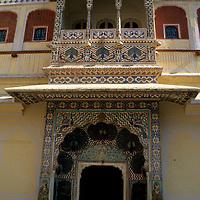 Asia, India, Jaipur. The peacock gate at Jaipur Palace.