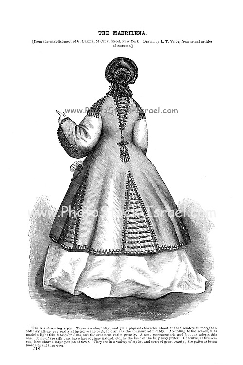 Godey's Fashion for summer 1864 The Madrilena from Godey's Lady's Book and Magazine, June 1864, Philadelphia, Louis A. Godey, Sarah Josepha Hale,