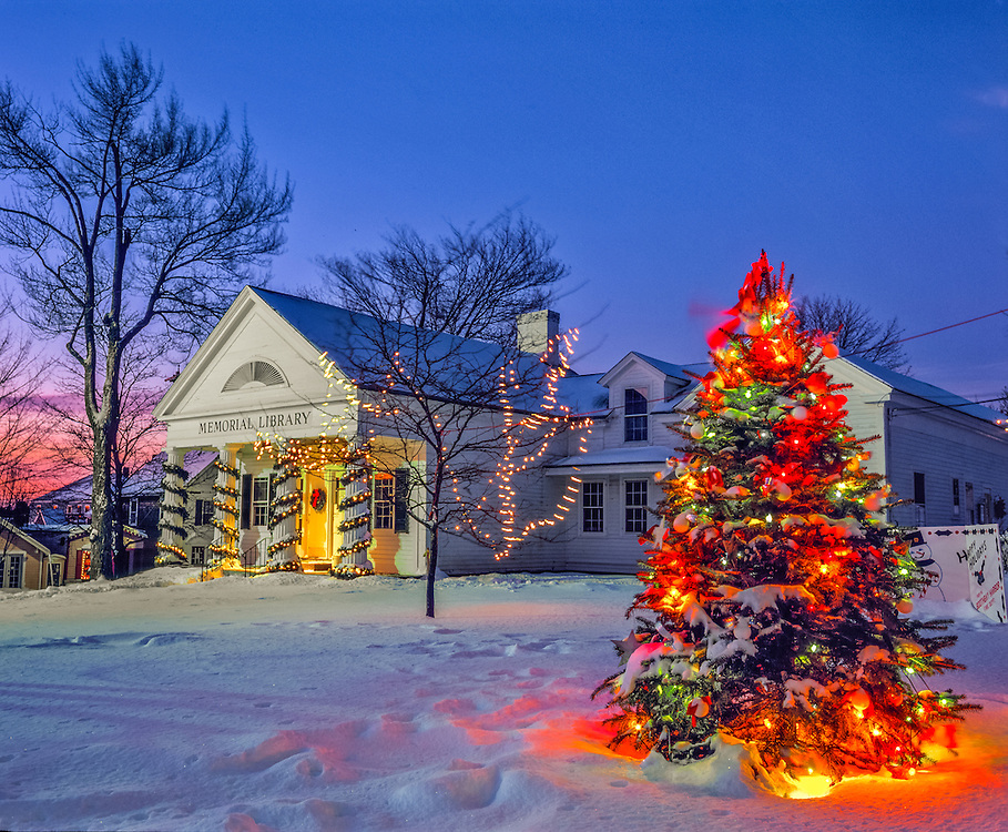 Memorial Library & Christmas lights at dusk, Boothbay Harbor, ME
