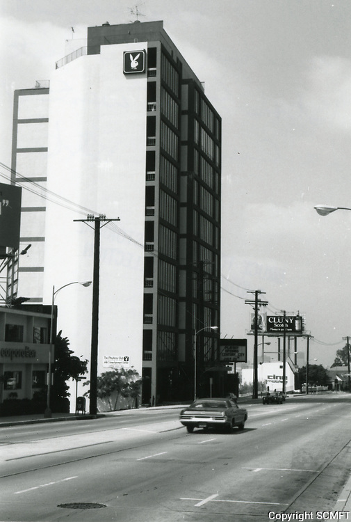 1973 Looking west at the Playboy building on Sunset Blvd.