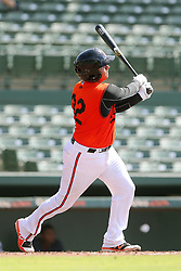 July 17, 2018 - Sarasota, FL, U.S. - Sarasota, FL - JUL 17: Jose Lizarraga (32) of the Orioles at bat during the Gulf Coast League (GCL) game between the GCL Twins and the GCL Orioles on July 17, 2018, at Ed Smith Stadium in Sarasota, FL. (Photo by Cliff Welch/Icon Sportswire) (Credit Image: © Cliff Welch/Icon SMI via ZUMA Press)