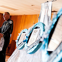 051413       Brian Leddy<br /> Gallup Police Chief Robert Cron speaks during a Fallen Officer's Memorial Service Tuesday at the Elk's Lodge. The service remembered six officers who were killed in the line of duty while working for the Gallup Police Department.