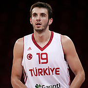 Turkey's Furkan Aldemirduring their Adidas Istanbul Cup 2012 Final basketball match Turkey between Finland at the Abdi ipekci Arena in Istanbul Turkey on Thursday 02 August 2012. Photo by TURKPIX