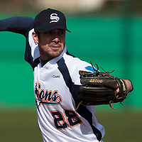 18 April 2010: Pierrick Le Mestre of Savigny pitches against Senart during game 1/week 2 of the French Elite season won 8-1 by Savigny (Lions) over Senart (Templiers), at Parc municipal des sports Jean Moulin in Savigny-sur-Orge, France.