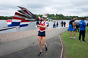 Glasgow, Scotland, Saturday, 4th  August 2018, A Crew member from the, Netherland Lightweight Men's Quadruple Scull, carries the, Blades/Oars, from the pontoon  at the, European Games, Rowing, Strathclyde Park, North Lanarkshire, © Peter SPURRIER/Alamy Live News