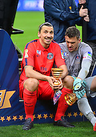 Victoire PSG / Zlatan IBRAHIMOVIC / Nicolas DOUCHEZ    - 11.04.2015 -  Bastia / PSG - Finale de la Coupe de la Ligue 2015<br />