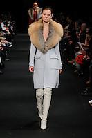 Jac Jagaciak walks the runway wearing Altuzarra Fall 2015 during Mercedes-Benz Fashion Week in New York on February 14, 2015