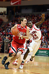 03 February 2007: Bobby Hill struggles to keep up with Jeremy Crouch. In what is locally referred to as the War on Seventy Four, the Bradley Braves defeated the Illinois State University Redbirds 70-62 on Doug Collins Court inside Redbird Arena in Normal Illinois.
