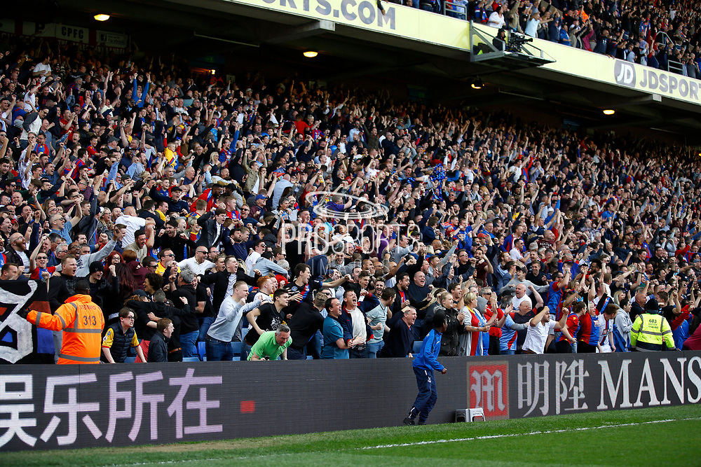 Crystal Palace fans celebrates a goal from Crystal Palace midfielder Wilfried Zaha (score 1-0) during the Premier League match between Crystal Palace and Hull City at Selhurst Park, London, England on 14 May 2017. Photo by Andy Walter.