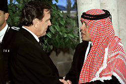 King Abdullah bin Al Hussein (right) receives condolences from German Chancellor Gerhard Schroeder during funeral in Amman, Jordan on February 8, 1999. Twenty years ago, end of January and early February 1999, the Kingdom of Jordan witnessed a change of power as the late King Hussein came back from the United States of America to change his Crown Prince, only two weeks before he passed away. Photo by Balkis Press/ABACAPRESS.COM