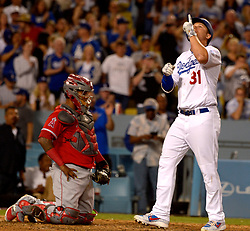 June 27, 2017 - Los Angeles, California, U.S. - Los Angeles Dodgers' Joc Pederson points to the sky after hitting a three run home run as Los Angeles Angels catcher Martin Maldonadov looks toward the mound in the sixth inning of a Major League baseball game at Dodger Stadium on Tuesday, June 27, 2017 in Los Angeles. (Photo by Keith Birmingham, Pasadena Star-News/SCNG) (Credit Image: © San Gabriel Valley Tribune via ZUMA Wire)
