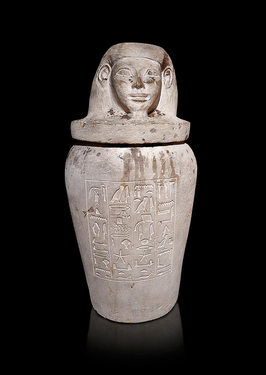 Ancient Egyptian Imesty or Amset Canopic Jar,  New Kingdom,  Egyptian Museum, Turin. Black background<br /> <br /> The canopic jars were four in number, each for the safekeeping of particular human organs: the stomach, intestines, lungs, and liver, all of which, it was believed, would be needed in the afterlife. Imsety, the human-headed god representing the South, whose jar contained the liver and was protected by the goddess Isis. .<br /> <br /> If you prefer to buy from our ALAMY PHOTO LIBRARY  Collection visit : https://www.alamy.com/portfolio/paul-williams-funkystock/ancient-egyptian-art-artefacts.html  . Type -   Turin   - into the LOWER SEARCH WITHIN GALLERY box. Refine search by adding background colour, subject etc<br /> <br /> Visit our ANCIENT WORLD PHOTO COLLECTIONS for more photos to download or buy as wall art prints https://funkystock.photoshelter.com/gallery-collection/Ancient-World-Art-Antiquities-Historic-Sites-Pictures-Images-of/C00006u26yqSkDOM