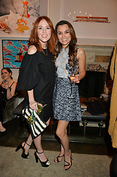Left to right, ANGELA SCANLON and SAMANTHA BARKS at the Creme de la Mer Blue Marine Foundation Dinner held at The Arts Club, 40 Dover Street, London on 23rd June 2015.