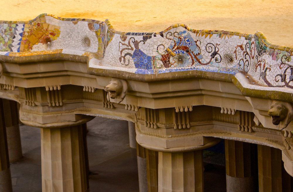 Barcelona, Spain, Park Guell, Designed by Antoni Gaudi, Plaza Mosaic Art and Pillars