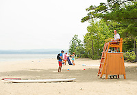 Lifeguard at Ellacoya State Beach in Gilford on Thursday.  (Karen Bobotas/for the Laconia Daily Sun)