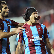 Trabzonspor's Gustavo COLMAN (R) celebrate his goal during their UEFA Champions League group stage matchday 2 soccer match Trabzonspor between Lille at the Avni Aker Stadium at Trabzon Turkey on Tuesday, 27 September 2011. Photo by TURKPIX