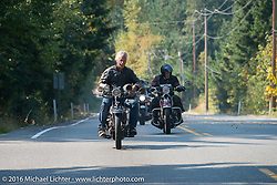 Doug Feinsod riding his 1920 Henderson Deluxe during Stage 16 (142 miles) of the Motorcycle Cannonball Cross-Country Endurance Run, which on this day ran from Yakima to Tacoma, WA, USA. Sunday, September 21, 2014.  Photography ©2014 Michael Lichter.