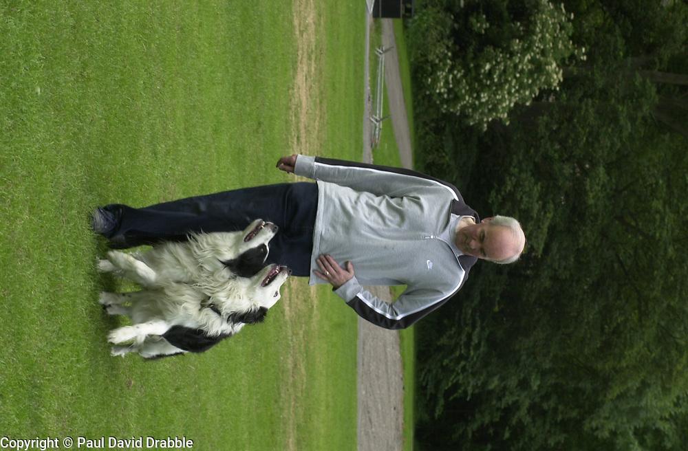 Eddie Sander with his Dogs Jackson and Inka<br /><br />18 June 2004<br /><br />Copyright Paul David Drabble<br /> [#Beginning of Shooting Data Section]<br />Nikon D1 <br /> Focal Length: 80mm<br /> Optimize Image: <br /> Color Mode: <br /> Noise Reduction: <br /> 2004/06/18 09:40:09.3<br /> Exposure Mode: Manual<br /> White Balance: Auto<br /> Tone Comp: Normal<br /> JPEG (8-bit) Fine<br /> Metering Mode: Center-Weighted<br /> AF Mode: AF-S<br /> Hue Adjustment: <br /> Image Size:  2000 x 1312<br /> 1/200 sec - F/7.1<br /> Flash Sync Mode: Not Attached<br /> Saturation: <br /> Color<br /> Exposure Comp.: 0 EV<br /> Sharpening: Normal<br /> Lens: 80-200mm F/2.8<br /> Sensitivity: ISO 200<br /> Image Comment: <br /> [#End of Shooting Data Section]