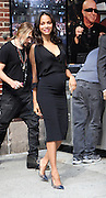 """July 30, 2014 - New York, New York, U.S. -<br /> <br />  ZOE SALDANA tapes an appearance on the Late Show. <br /> <br /> The Rosemary's Baby starlet covers the 'naked' August edition of Women's Health UK - on newsstands Wednesday - in which she discusses her changing figure.<br /> 'My body is less toned. I do look in the mirror and see things I don't want. My first reaction is I breathe and I think, """"I'm a woman, I'm 36, my body is changing,""""' Zoe - who has yet to confirm her pregnancy - told the mag.<br /> 'This past year I've had to start letting go. My body dictated it as if saying, """"Slow the f**k down!""""...And I struggle with that. I love to be an athlete.'<br /> Two years ago, the Star Trek stunner revealed that 'two or three or four or five' little ones sounded good to her<br /> ©Exclusivepix"""