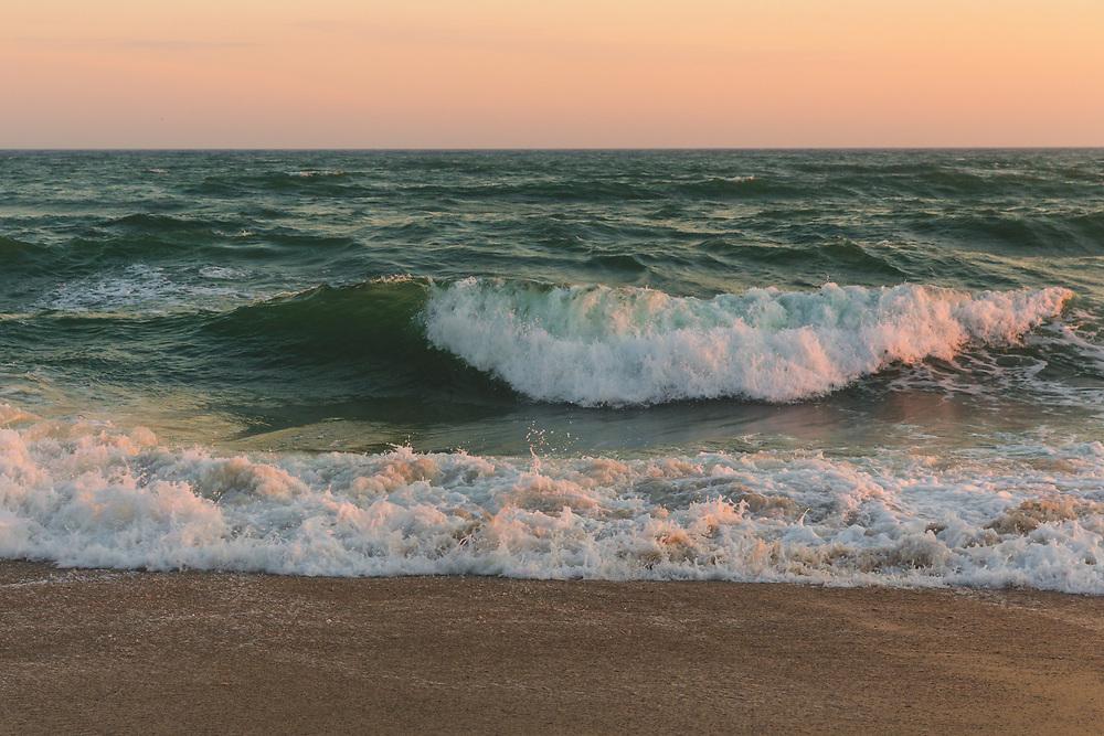 Atlantic Ocean waves cresting at the shores of Madaket on a summer evening.