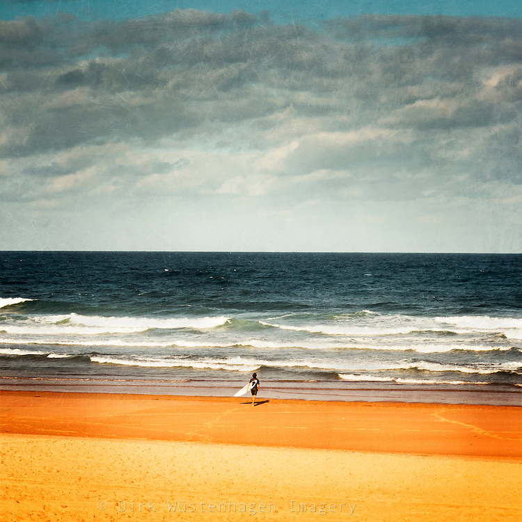 Surfer on his way to the sea.<br /> <br /> Prints: http://society6.com/DirkWuestenhagenImagery
