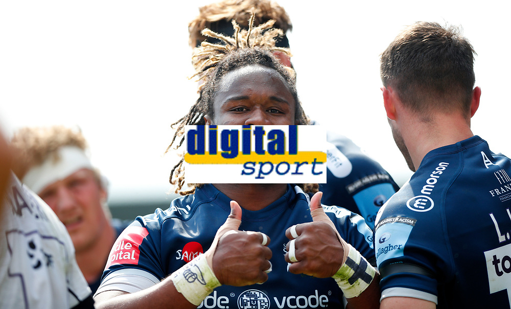 Caption Template Rugby Union - 2020 / 2021 Gallagher Premiership - Round 16 - Sale Sharks vs Gloucester - AJ Bell Stadium<br /> <br /> Marland Yarde of Sale Sharks celebrates his try <br /> <br /> Credit COLORSPORT/LYNNE CAMERON