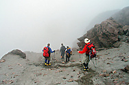 Climbing above the  Berge', Ruales, Oleas Refuge on Mt  Cayambe in Northern, Ecuador.