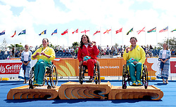 England's Jade Jones (centre) celebrates winning gold in the Women's Para-triathlon Final with Australia's Emily Tapp (Silver) and Lauren Parker (Bronze) at the Southport Broadwater Parklands during day three of the 2018 Commonwealth Games in the Gold Coast, Australia.