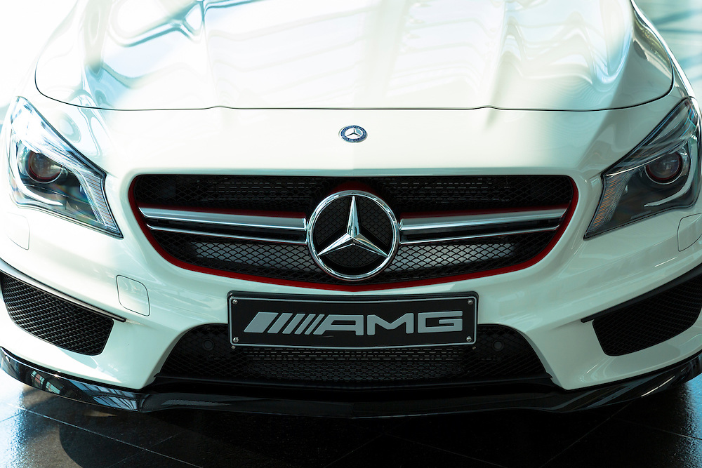 Mercedes-AMG CLA 45 AMG with latest 4 cylinder engine on display in showroom at engine factory in Affalterbach, Germany