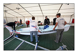 Sailing - The Olympic Sailing 470 Class Holding the Europeans at Largs, North Ayrshire Scotland..Measurement, Measurement officials inspect every competitor and their equipment