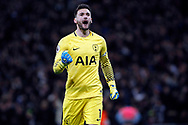 Hugo Lloris , the goalkeeper of Tottenham Hotspur celebrates after Phil Jones of Manchester Utd scores an own goal for Tottenham's 2nd goal.   Premier league match, Tottenham Hotspur v Manchester Utd at Wembley Stadium in London on Wednesday 31st January 2018.<br /> pic by Steffan Bowen, Andrew Orchard sports photography.