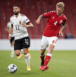 Simon Kjær (Danmark) under UEFA Nations League kampen mellem Danmark og Belgien den 5. september 2020 i Parken, København (Foto: Claus Birch).