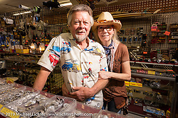 Arlin Fatland and Donna Maupin behind the counter for the last bike week their 2-Wheelers shop will be open on Main Street.  Daytona Beach Bike Week, FL. USA. Sunday, March 10, 2019. Photography ©2019 Michael Lichter.