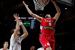12.09.2014, City Arena, Madrid, ESP, FIBA WM, Frankreich vs Serbien, Halbfinale, im Bild France´s Lauvergne (L) and Serbia´s Bjelica // during FIBA Basketball World Cup Spain 2014 semifinal match between France and Serbia at the City Arena in Madrid, Spain on 2014/09/12. EXPA Pictures © 2014, PhotoCredit: EXPA/ Alterphotos/ Victor Blanco<br /> <br /> *****ATTENTION - OUT of ESP, SUI*****