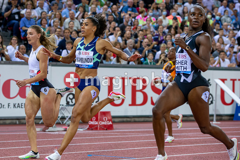 (L-R) Third placed Ajla Del Ponte of Switzerland, fifth placed Mujinga Kambundji of Switzerland and second placed Dina Asher-Smith of Great Britain react after competing in the women's 100m during the Iaaf Diamond League meeting (Weltklasse Zuerich) at the Letzigrund Stadium in Zurich, Switzerland, Thursday, Sept. 9, 2021. (Photo by Patrick B. Kraemer / MAGICPBK)
