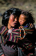 BHUTAN, THANZA VILLAGE, woman, (Ngongdrup) with baby