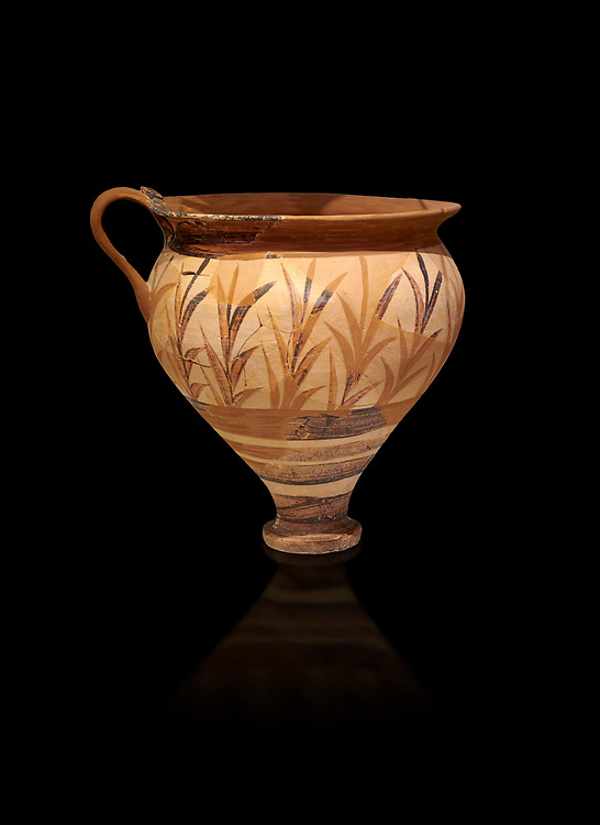 Minoan decorated cup with foliage, Archanes Palace  1600-1450 BC; Heraklion Archaeological  Museum, black background. .<br /> <br /> If you prefer to buy from our ALAMY PHOTO LIBRARY  Collection visit : https://www.alamy.com/portfolio/paul-williams-funkystock/minoan-art-artefacts.html . Type -   Heraklion   - into the LOWER SEARCH WITHIN GALLERY box. Refine search by adding background colour, place, museum etc<br /> <br /> Visit our MINOAN ART PHOTO COLLECTIONS for more photos to download  as wall art prints https://funkystock.photoshelter.com/gallery-collection/Ancient-Minoans-Art-Artefacts-Antiquities-Historic-Places-Pictures-Images-of/C0000ricT2SU_M9w