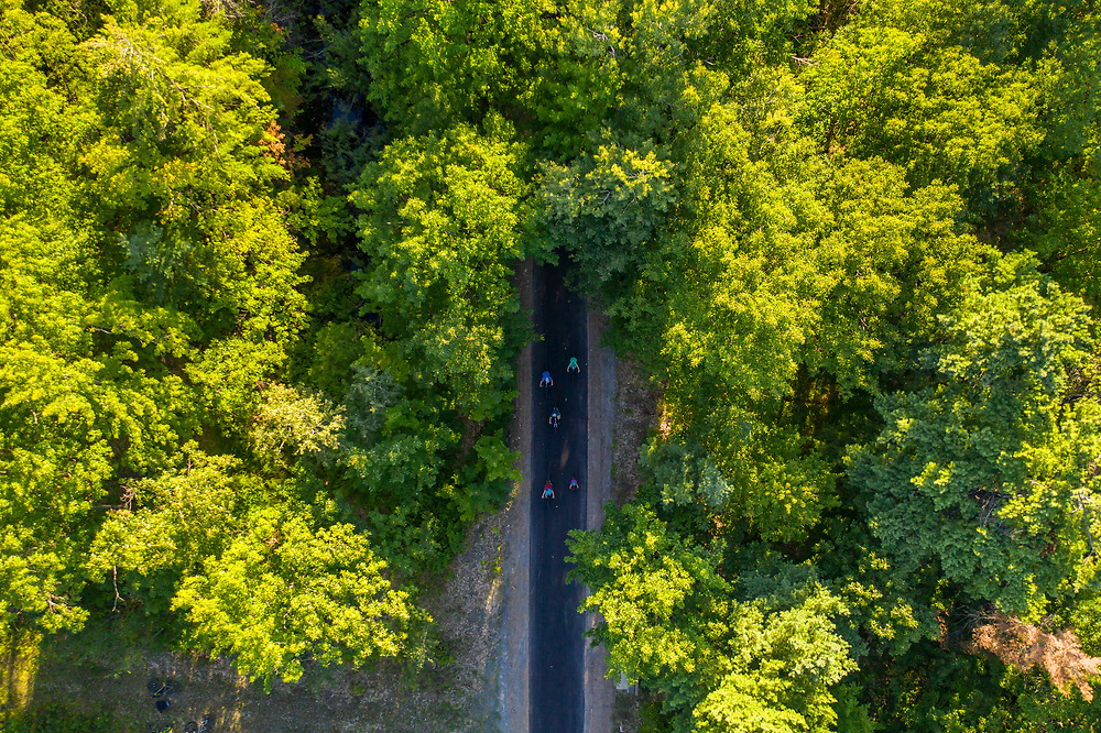 Drone view of the Iron Ore Heritage Trail in Marquette, Michigan.