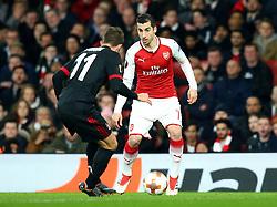 Henrikh Mkhitaryan of Arsenal takes on Fabio Borini of AC Milan - Mandatory by-line: Robbie Stephenson/JMP - 15/03/2018 - FOOTBALL - Emirates Stadium - London, England - Arsenal v AC Milan - UEFA Europa League Round of 16, Second leg