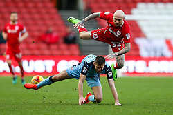 David Cotterill of Bristol City is sent flying - Rogan Thomson/JMP - 04/02/2017 - FOOTBALL - Ashton Gate Stadium - Bristol, England - Bristol City v Rotherham United - Sky Bet Championship.
