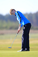 Jack Egan (Muskerry) on the 1st green during Round 2 of the Ulster Boys Championship at Donegal Golf Club, Murvagh, Donegal, Co Donegal on Thursday 25th April 2019.<br /> Picture:  Thos Caffrey / www.golffile.ie